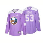 Camiseta Hockey Hombre Autentico New York Islanders 53 Casey Cizikas Hockey Fights Cancer 2018 Violeta