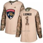Camiseta Hockey Nino Florida Panthers 1 Roberto Luongo Camo Autentico 2017 Veterans Day Stitched