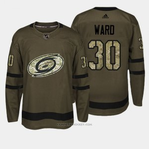 Camiseta Hockey Hombre Carolina Hurricanes 30 Cam Ward Verde Salute To Service