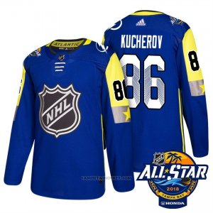 Camiseta Hockey Hombre Tampa Bay Lightning 86 Nikita Kucherov Azul 2018 All Star Autentico