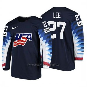 Camiseta USA Team Anders Lee 2018 Iihf Men World Championship Jugador Negro