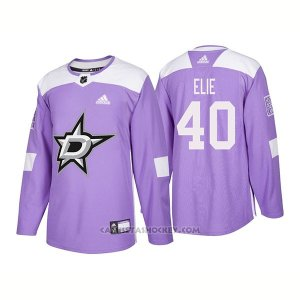 Camiseta Hockey Hombre Autentico Dallas Stars 40 Remi Elie Hockey Fights Cancer 2018 Violeta