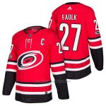 Camiseta Hockey Hombre Autentico Carolina Hurricanes 27 Justin Faulk Home 2018 Rojo