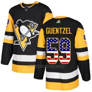 Camiseta Hockey Hombre Pittsburgh Penguins 59 Guentzel Negro