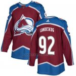 Camiseta Hockey Nino Colorado Avalanche 92 Gabriel Landeskog Burgundy Home Autentico Stitched