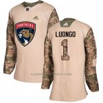 Camiseta Hockey Mujer Florida Panthers 1 Roberto Luongo Camo Autentico 2017 Veterans Day Stitched
