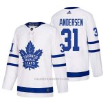 Camiseta Hockey Hombre Toronto Maple Leafs 31 Frederik Andersen Away 2017-2018 Blanco