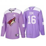 Camiseta Arizona Coyotes Max Domi Hockey Fights Cancer Violeta
