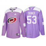 Camiseta Carolina Hurricanes Jeff Skinner 2018 Adidas Autentico Hockey Fights Cancer Violeta