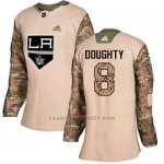 Camiseta Hockey Mujer Los Angeles Kings 8 Drew Doughty Camo Autentico 2017 Veterans Day Stitched