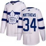 Camiseta Hockey Nino Toronto Maple Leafs 34 Auston Matthews Blanco Autentico 2018 Stadium Series Stitched