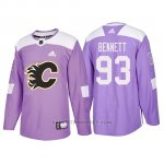 Camiseta Calgary Flames Sam Bennett Hockey Fights Cancer Violeta