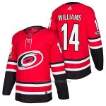 Camiseta Hockey Hombre Autentico Carolina Hurricanes 14 Justin Williams Home 2018 Rojo