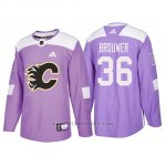 Camiseta Calgary Flames Troy Brouwer Hockey Fights Cancer Violeta