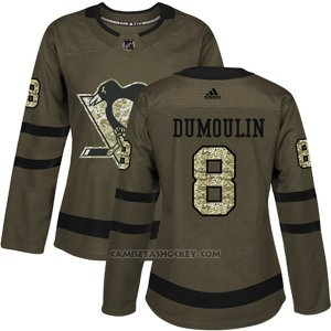 Camiseta Hockey Mujer Penguins 8 Brian Dumoulin Salute To Service 2018 Verde
