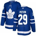 Camiseta Hockey Nino Toronto Maple Leafs 29 Felix Potvin Azul Home Autentico Stitched