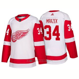 Camiseta Hockey Hombre Detroit Red Wings 34 Petr Mrazek New Outfitted 2018 Blanco