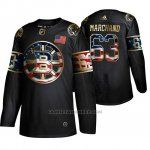 Camiseta Hockey Boston Bruins Brad Marchand Independence Day Golden Edition Negro