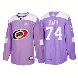 Camiseta Hockey Hombre Autentico Carolina Hurricanes 74 Jaccob Slavin Hockey Fights Cancer 2018 Violeta