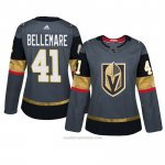 Camiseta Hockey Mujer Vegas Golden Knights 41 Pierre Edouard Bellemare Gris Autentico Home