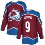 Camiseta Hockey Colorado Avalanche 9 Lanny Mcdonald Primera Autentico Rojo