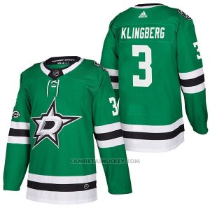 Camiseta Hockey Hombre Autentico Dallas Stars 3 John Klingberg Home 2018 Verde