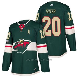 Camiseta Hockey Hombre Autentico Minnesota Wild 20 Ryan Suter Home 2018 Verde